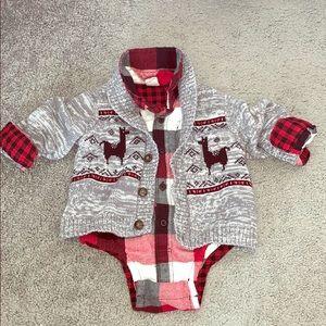 Baby Gap Plaid Flannel Onesie Sweater Set 12-18 Mo